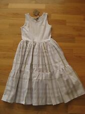 NWT BURBERRY WHITE DRESS W/GRAY NOVA CHECK PLAID 8Y