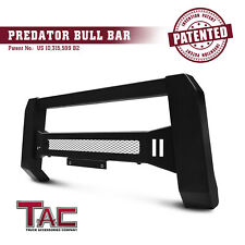 Topline Autopart Matte Black AVT Style Bull Bar Brush Push Front Bumper Grill Grille Guard With Aluminum Skid Plate For 05-18 Nissan Frontier ; 05-07 Pathfinder ; 05-15 Xterra