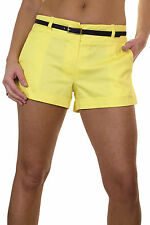 NEW (1219-8) Ladies Cotton Sateen Hotpants Shorts  Bright Yellow Size  8  14