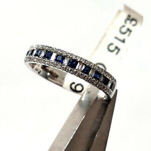 Sapphire & Diamond Eternity Wedding Ring 9ct White Gold size L