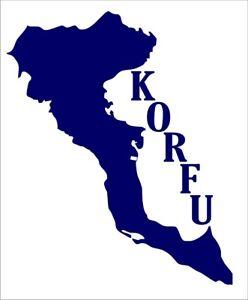 Aufkleber der Insel Korfu, Griechenland, aus hochwertiger Folie geschnitten.