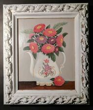 Fine Art Original Mid-Century Floral Oil Painting Framed Zinnia Tea Pot