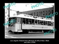 OLD LARGE HISTORIC PHOTO OF LOS ANGELES TRANSIT LINES STREETCAR, CAR 508 c1940s