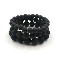 Man Natural Black Lava Stone Rock Volcanic Round Bead Stretchy Elastic Bracelets