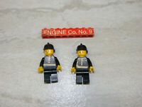 2 LEGO Vintage Classic Town Firefighter Minifigures Fireman Helmets Stickers
