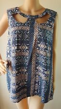NWT NEW LOOK Ladies Blue Pink Printed Sleeveless Top Size: 20