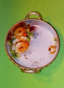 Antique NIPPON MORIMURI Japan hand-painted TWO-HANDLE BOWL with YELLOW ROSES.
