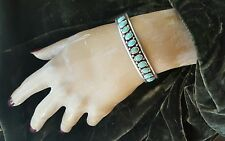 Bracelet Turquoise Raindrops 26 grams Nice Signed Sterling Silver Classic Row