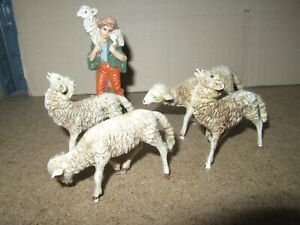 747Q Toy Old Plastic Made IN Italy Bundle Of 3 Sheep H 6.5 CM