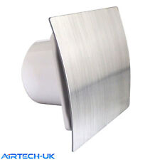 """Bathroom Extractor Fan 100mm /4"""" Modern Shower Kitchen ES-100 Brush Chrome Finsh"""