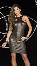 Sexy Gunmetal Gold Metallic Dress w/ Chain Detail Clubwear Espiral 4297