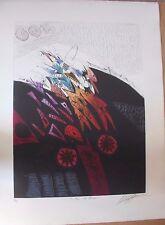 Très grande gravure signée numérotée de Georges DUSSAU Eclair de nuit 1990 **