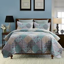 3-Piece Blooming Floral Authentic Patchwork Quilt Set Reversible Bedspreads