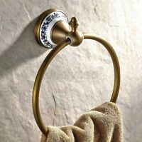 Antique Brass Wall Mounted Round Bathroom Towel Ring Towel Rack Holder Kba401