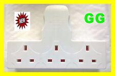 3 WAY MAINS BLOCK SOCKET UK PLUG ADAPTOR 13amp electric extension lead SPLITTER