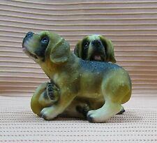 "Two English Mastiff Puppies Vintage Plastic Resin 3"" Puppy Dog Figurine Free S/H"
