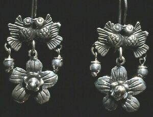 TAXCO MEXICAN 925 SILVER KISSING LOVE BIRDS EARRINGS FRIDA KAHLO VTG STYLE