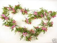 Artificial Silk Flowers Pink Verbena Garland Vine for Wedding Gazabo Decoration