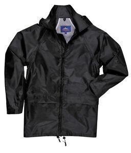 PORTWEST WATERPROOF LIGHTWEIGHT RAIN JACKET OVER COAT MAC BLACK S M L XL XXL 3XL