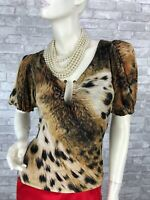 Roberto Cavalli New Animal Print Stretch Blouse Dress Top 4 US 40 IT S Runway