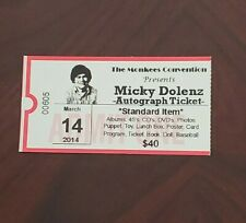 Mickey Dolenz Pictured Autograph Ticket March 2014