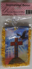 JESUS SAVES SMALL BANNER CRUCIFIXION CROSS MOUNTING SUCTION CUP @@MY OTHER ITEMS