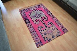 Pink Vintage Rug,3x4.8,Oushak Rug,Turkish Rug,Unique Rug,Bedroom Rug,Floor Mat.