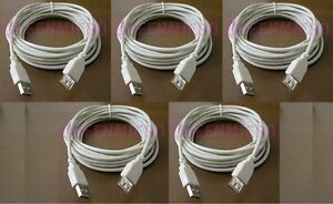 5 Lot - 10Ft PREMIUM USB 2.0 Male to Female Extension Shielded Cable Ivory 10'Ft