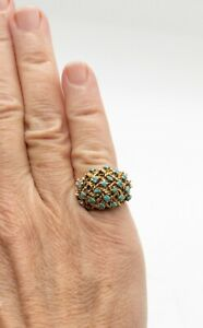 18kt Gold and Turquoise Ring - Repair or Scrap - Missing Stones - 7.52 grams