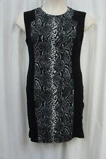 Rachel Roy Dress Sz L Black Combo Snkae Print Knit Sleeveless Career Cocktail
