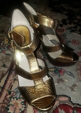 Michael Kors Platform Gold Lizard Embossed Leather Sandals Heels Size 10M