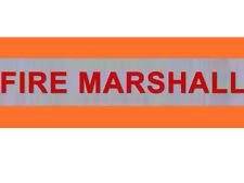 "XL Hi Visibility Reflective Orange Armband Printed FIRE MARSHAL 20""x5"""