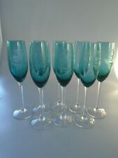 VINTAGE ETCHED CHAMPAGNE FLUTES   BIRDS  & FLOWERS SET OF EIGHT