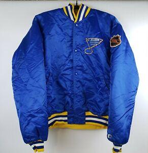 Vintage STARTER St. Louis Blues 80's Satin Bomber Jacket NHL Hockey Blue Size XL