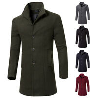 Men Jacket Warm Winter Trench Long Wool Coats Fashion Casual Outwear Overcoat