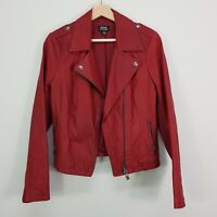 JUST JEANS | Womens Red Leather Zip Up Biker Jacket [ Size AU 10 or US 6 ]