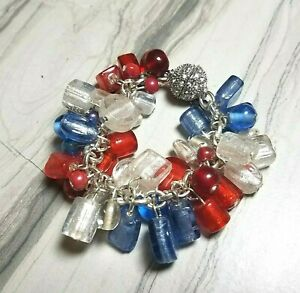"""Chunky Red White & Blue Patriotic Glass Beads Charm Link Bracelet Magnetic 8"""""""