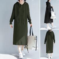ZANZEA Femme Sweat-shirt Robe à capuche Manche Longue Poches  Loose Dresse Plus