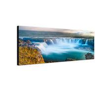 150x50cm Wandbild Leinwand Panorama Godafoss Wasserfall Island Sinus Art  Rahmen