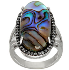 Sterling Ring Size 10 Qvc $199 Graziela Gems Abalone Doublet & White Zircon