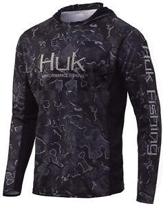 Huk Men's Icon X Camo Current Hannibal Black Large Long Sleeve Hoodie Shirt
