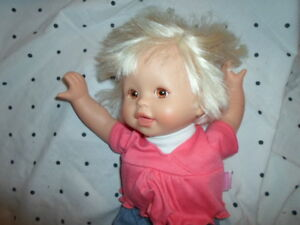 """Fisher Price Baby Doll Plush Plastic Head Limbs 15"""" Toy"""