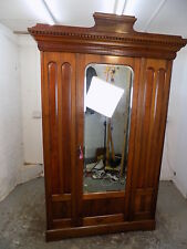 antique,victorian,walnut,wardrobe,bedroom,mirrored door,hanging,break down,shelf