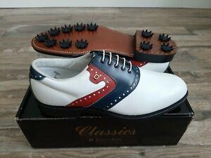 NEW Vintage Footjoy Classics Mens Golf Shoes White/Blue/Red 5197X 10D
