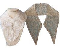 Antique Lace Trim Edging Valenciennes Type Doll Piece &Large Women's Collar VTG