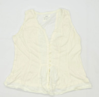 Next Womens Size 14 Cotton Cream Top (Regular)