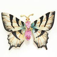 VINTAGE Czechoslovakia Pink Crystal Butterfly Brooch White Black Enamel Goldtone