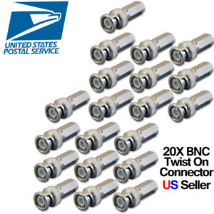 20X Twist on BNC Male RG59 Connector For Analog CCTV camera Siamese Coax Cable