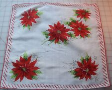 6040 Vintage 1950's Printed cotton hankie, Christmas poinsettias, red and white