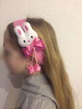 Bandeau Elastique Rose Foncé Lapin Noeud Pendentif Boule Cheveux Coiffure Enfant